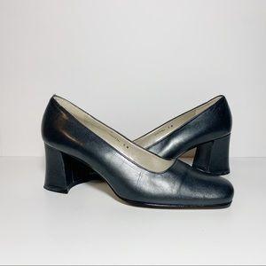 Metallic Silver Square Toe Chunky Heels Pumps